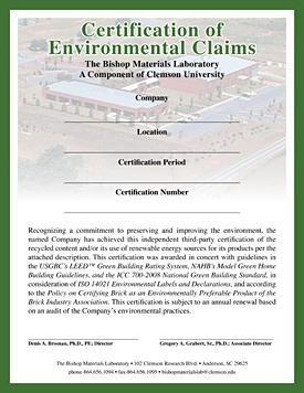 Certification of Environmental Claims from NBRC.