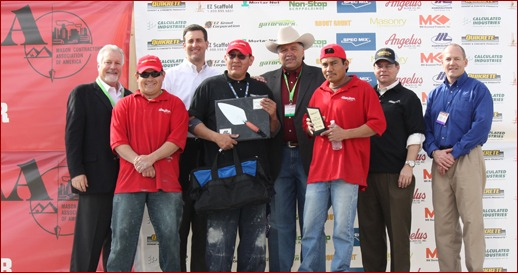 Kris Chee of Maverick Masonry Inc. in El Mirage, Ariz., won the Fastest Trowel on the Block Competition. His tenders were Enrique Esparza and Gilberto Palacios Aguero.