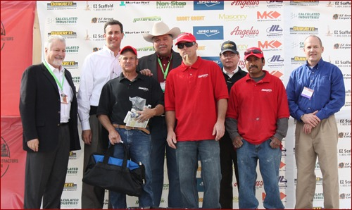 Bob Christensen of ASR Constructors in Riverside, Calif., won third place in the Fastest Trowel on the Block Competition. His tenders were Shawn Ramano and Gabino Berrera.