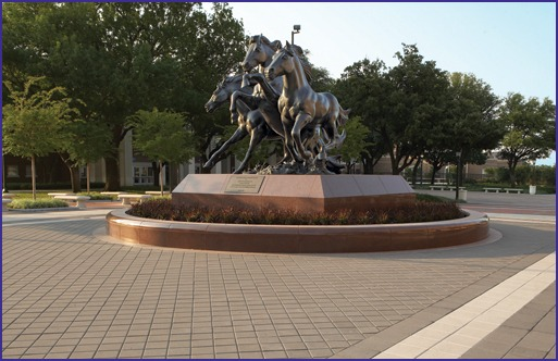 Southern Methodist University's mustang sculpture at the south end of Mustang Plaza and Mall welcomes students, faculty and visitors to a beautiful 230-acre campus.