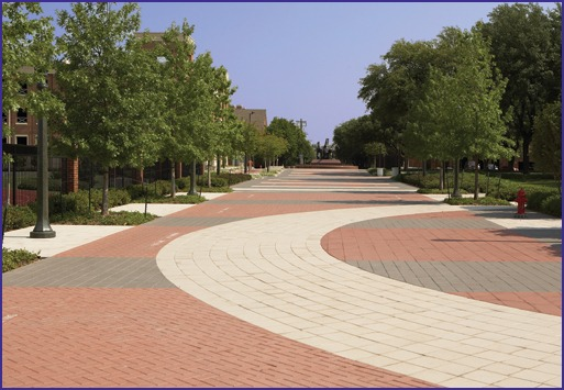A variety of paver shapes, colors and patterning, creates visual interest along the mall.