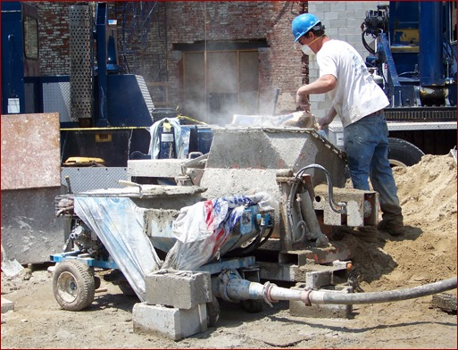 Batching onsite with a masonry grout pump