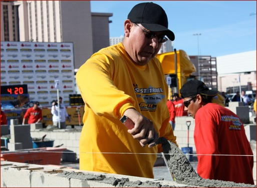 2011 Fastest Trowel on the Block, First Place – Kris Chee, Sutter Masonry Inc., El Mirage, Ariz.Tenders: Enrique Esparza, Gilberto Palacios Aguero