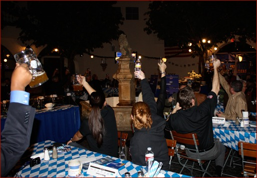 p.15_Caption (for both images): South of 40 fundraiser attendees enjoy the Bavarian flavor of the Hofbrauhaus.