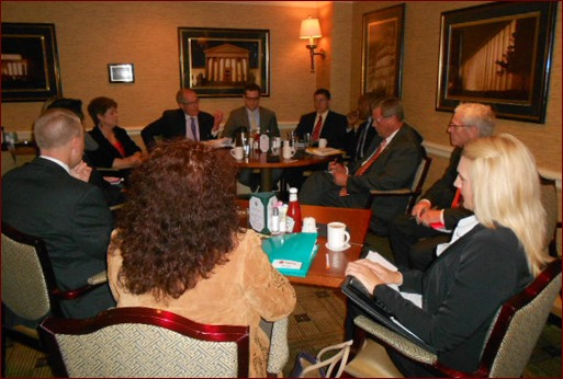 Congressman Tom Latham meets with a small group of MCAA members at the Capitol Hill Club