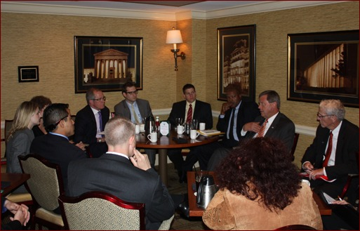 Congressman Tom Latham addresses a small group of MCAA members at the Capitol Hill Club.