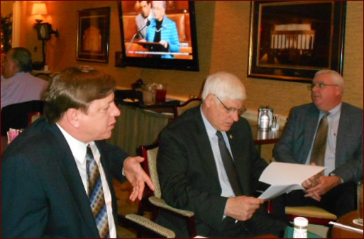 Damian Lang speaks with Rep. Bob Gibbs of Ohio. Also pictured right is John Smith.