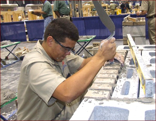 Cody Prescott works on his composite project at the 2010 national masonry contest held in June 2010, in conjunction with the SkillsUSA National Leadership Conference in Kansas City, Mo.