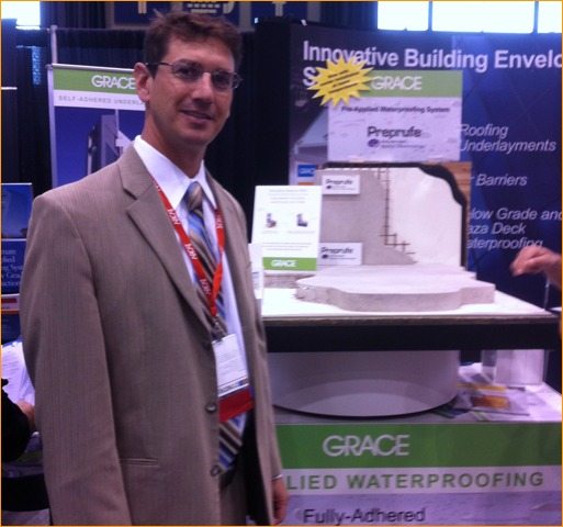 Craig Boucher of Grace Construction Products showcased Grace's moisture control product.