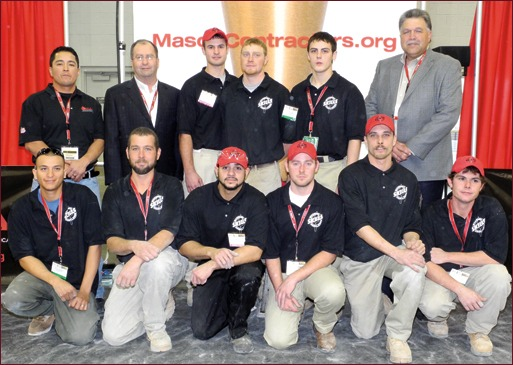Back row (left to right): Moroni Mejia, Rhino Masonry Inc.; Mike Sutter, Sutter Masonry Inc.; Wriston McGee, McGee Brothers Inc. – Second Year, First Place; Darren Tobolt, Studer-Obringer Inc. – Third Year, First Place; Oliver Snyder – First Year, First Place; Mackie Bounds, Brazos Masonry Inc. – MCAA Past President  First row (left to right): Filiberto Granados, G&G Enterprises – Third Year, Third Place; Tom Webster, Masonry Arts Inc. – First Year, Second Place; Justin Proch, Leidal & Hart/Dixon Inc. – First Year, Third Place; Justin Johnson, WASCO, Inc. – Second Year, Third Place; Jeremy Casey, Foti Construction Inc. – Second Year, Second Place; Kristopher Boyd, Masonry Specialist Corp. – Third Year, Second Place