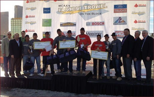 Shown are the winners of the Fastest Trowel on the Block competition, MCAA officers and industry sponsors.