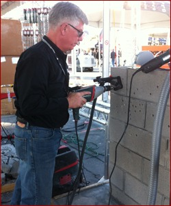 Terry Tuerk with Metabo demonstrates a lightweight drill.