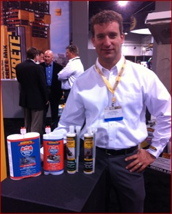 Shown is Dan Alderdice with new epoxy products from Quikrete, which debuts products each year at World of Concrete/World of Masonry.