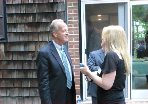 Senator Jerry Moran and Beverly McCauley chat during the South of 40 reception.
