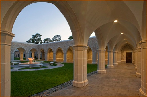 Column capitals, shafts, bases, arch mouldings and the fountain area all are made of Cast Stone.