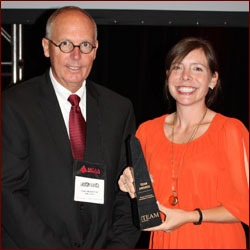 Paul Odom (left) and Liz Beber (right) of P and S Masonry; LEED winner – University of Texas – Norman Hackerman Building
