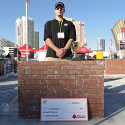 Shown is Jeffrey Price, the 2013 Masonry Skills Challenge First Year winner