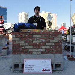 Shown is Noah Spray, the 2013 Masonry Skills Challenge Third Year winner.