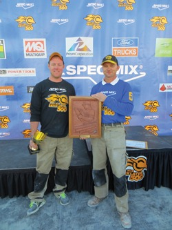 Shown are 2013 SPEC MIX TOP CRAFTSMAN mason Steve Cleveland (right) and his tender, William R. Hill III.