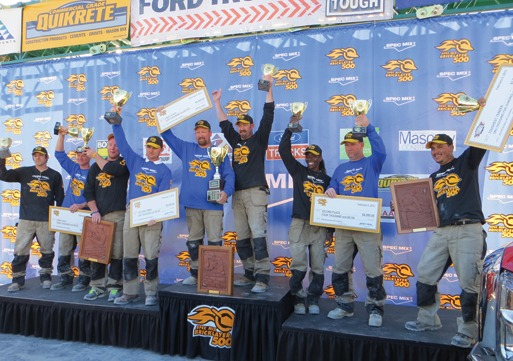 Winners show off their trophies, cash prizes and Boral Bricks plaques. From left, third place team - mason tender Andy Zepeda and mason Darian Douthit; mason tender William R. Hill III and SPEC MIX TOP CRAFTSMAN mason Steve Cleveland; first place team - mason Fred Campbell and mason tender Tony Shelton; second place team - mason tender Lynette Darby and mason Ray Robinson; and SPEC MIX TOUGHEST TENDER Adrian Tena.