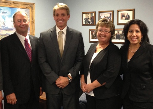 Mike Sutter, Sutter Masonry; Sen. Jeff Flake (R-AZ); Colleen Sutter, Sutter Masonry; Lisa Prichard, Arizona Masonry Guild.