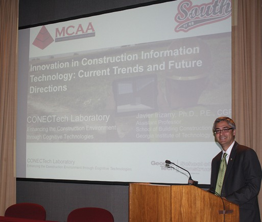 Dr. Javier Irizarry, Georgia Tech, addresses South of 40 about trends in information mobility and visualization.