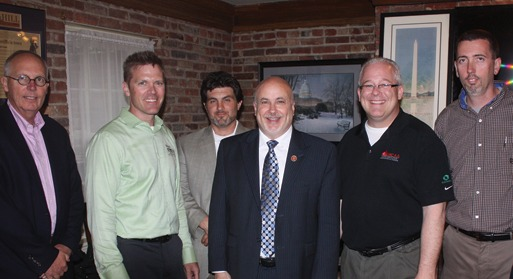 Paul Odom, P&S Masonry; Joe Buechel,  Natural Stone Veneers International; Joe Bonifate, Arch Masonry; Rep. Mark Pocan (D-WI); Jeff Buczkiewicz, MCAA President; Paul Oldham, Ollier Masonry.