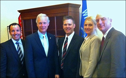 Matt Keelen of The Keelen Group; Sen. Ron Johnson (R-WI); Joe Buechel,  Natural Stone Veneers International; Jennifer Morrell, Editor of Masonry Magazine; and Bob Thomas, NCMA.