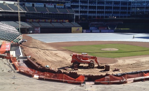 QUIKRETE's Red Ranger mortar mix helps rebuild backstop and update main concourse concessions at Texas Rangers Ballpark.
