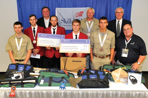 Shown left to right are second place-winners Steven Quimby and Travis Moore; first-place winners Brent Austin and Andrew Mullis; and third-place winners Mark Karhoff and Chase Smith. Among the adult sponsors of this event were (on left) Bill Kjorlein, Argos USA; (on right) Bryan Light, BIA SE Region; and Al Herndon, Florida Masonry Apprentice and Education Foundation.