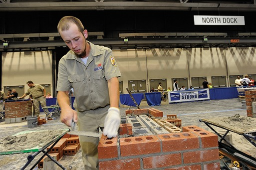 Brent Austin works to complete his composite brick-and-block project.