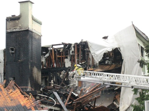 Shown is the aftermath of condos in Vancouver that burned. Image courtesy of the Masonry Institute of B.C. (Canada)