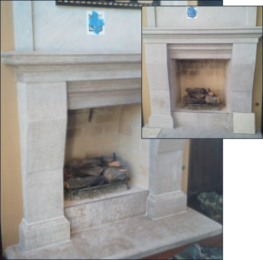 Bressler fireplace after recoloring; INSET: Before recoloring
