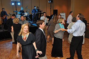 The April NCMCA Myrtle Beach Annual Convention ended with a banquet and entertainment with Barry Herndon and The Party Nuts. In the foreground, Lizzie and Paul Elder along with Anna and Ron Sanders enjoy the music.