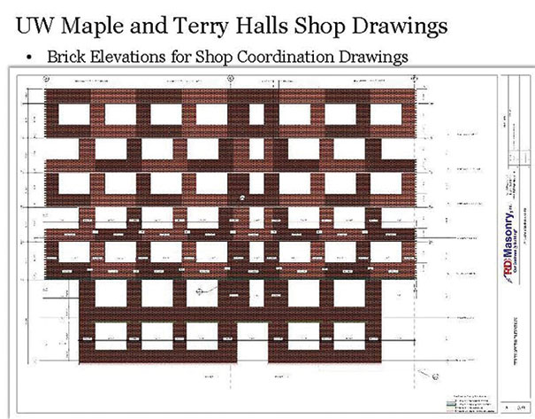 Brick elevations for shop drawings