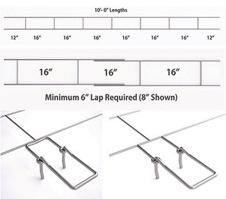 Figure 8. Ladder-shaped wire, code-required minimum lap, and butt-welded adjustable eye options are shown here.