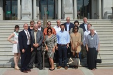 Attendees of the South of 40 Conference are shown on the steps of the Library of Congress.