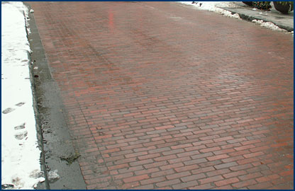 Clay pavers are stronger then people may think. Shown are Whitacre-Greer pavers used in a vehicular application on Marion Street in Oak Park, Ill.