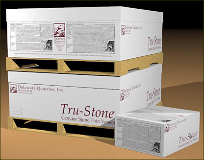 Thin stone from Delaware Quarries comes with an image of the stone on the box, along with step-by-step installation instructions.