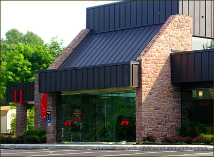 This commercial bank has thin stone veneer from Delaware Quarries, Bucks County Brownstone.