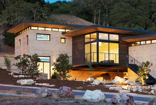 Napa, California home built entirely of Watershed Block, a new type of structural masonry that uses less cement and incorporates unwashed, locally sourced recycled aggregate. The home sat atop the epicenter of the August 2014 Napa earthquake but suffered no damage. Image credit: ©Mark Luthringer