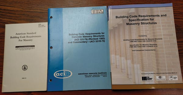 Masonry design and construction standards from 1953, 1983 and 2013.