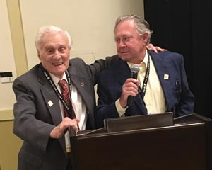 Two elders of the BSI were acknowledged for having more than 50 years of involvement in the association. Left to right: Col. Joseph Busik of Delaware Quarries and Perry Halquist of Halquist Stone Co.