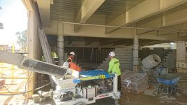 Masonry Grout Pump on jobsite in Perth, Western Australia. Photo courtesy of Brunswick Sales