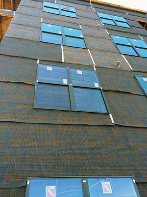 Driwall Rainscreen 020-1, a drainage and ventilation mat installed on the exterior walls of construction, can be used behind a variety of exterior veneers, including stone, stucco and fiber cement.