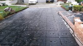 ThermaPANEL units laid out and connected in New Hyde Park, N.Y. The driveway will be snow-melted during winter months, and the panels will collect solar thermal energy in the summer to heat the pool in the backyard.