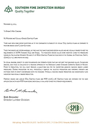 A letter from the Southern Pine Inspection Bureau regarding how to identify properly graded and labeled scaffold plank.