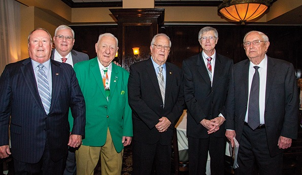 """At World of Concrete 2017, new faces will join these 2016 Masonry Hall of Fame inductees (left to right): Robert V. """"Buddie"""" Barnes Jr., J. Gregg Borchelt, Richard Matthews, Harry E. McGraw, Ryan M. O'Brien and John J. Smith Sr."""